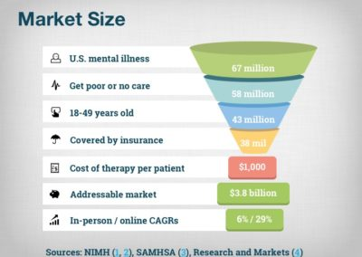 Breakthrough's market slide showed the target audience and the math of its market size. Online therapy's growth rate was high while in-person therapy's was middling so we showed both.