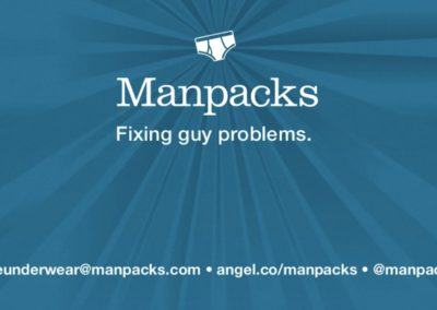 Title slide from Manpacks pitch deck