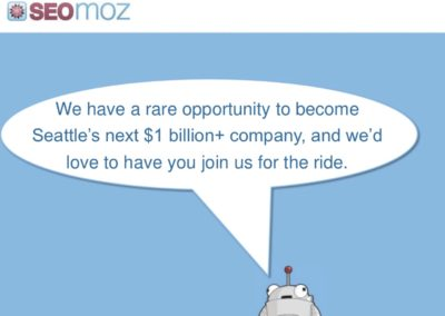 Moz's conclusion slide ends with a big but somewhat odd vision. Why should investors care that it's Seattle's next unicorn? I'd prefer a vision about the company's core mission.