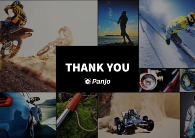Panjo's final slide action shots reinforce their branding. A contact email and website link would have been nice.